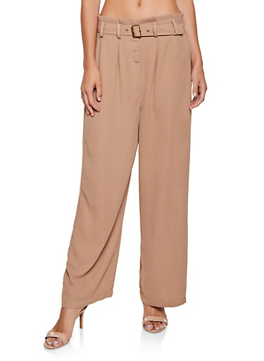 Belted Paper Bag Waist Palazzo Pants,BROWN,large