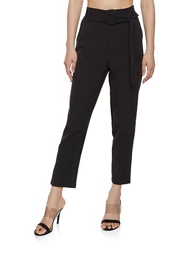 Belted Front Dress Pants,BLACK,large