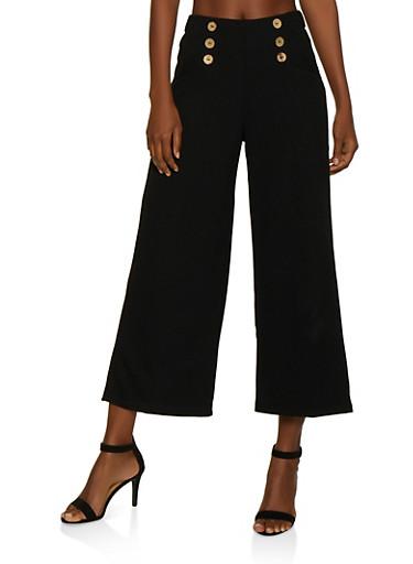 Crepe Knit Gaucho Pants,BLACK,large