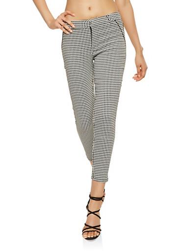 Houndstooth Print Dress Pants,BLACK/WHITE,large