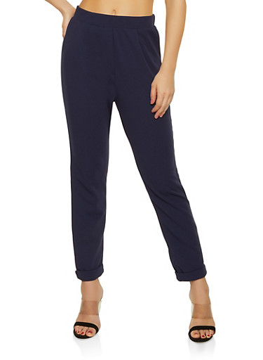 Pull On Crepe Knit Pants,NAVY,large