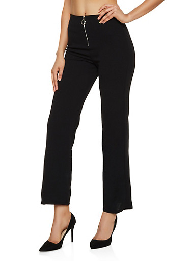 O Ring Zip Dress Pants,BLACK,large