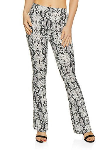 Flared Snake Print Pants | 3407069399456 by Rainbow