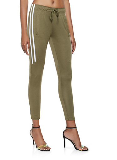 Varsity Stripe Track Pants,OLIVE,large