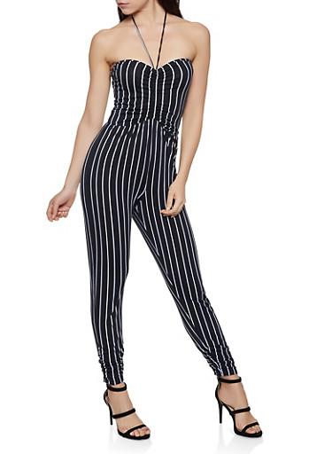 Striped Halter Jumpsuit,BLACK/WHITE,large