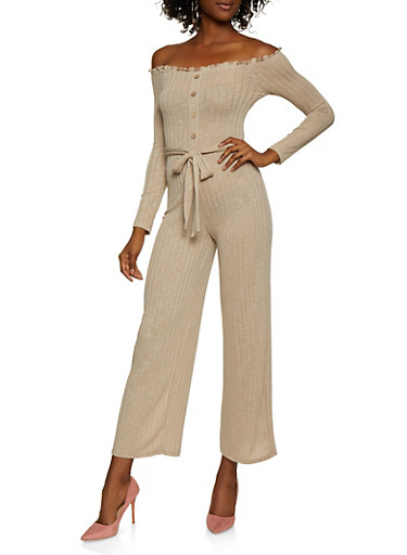 Off the Shoulder Rib Knit Jumpsuit,TAUPE,large