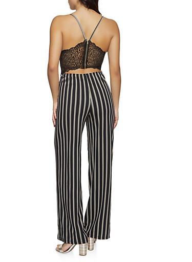 Vertical Stripe Lace Back Detail Jumpsuit,BLACK,large