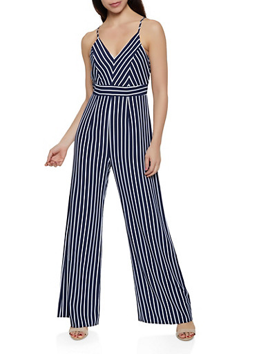 Striped Cami Wide Leg Jumpsuit,WHITE,large