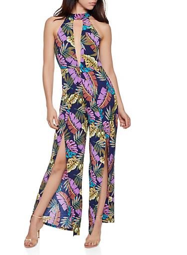 Split Leg Leaf Print Plunge Jumpsuit,NAVY,large