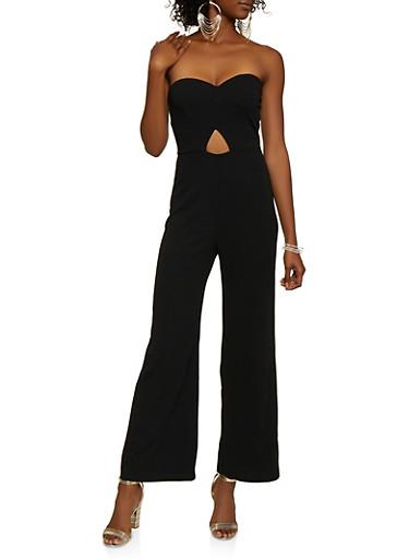Strapless Keyhole Jumpsuit,BLACK,large