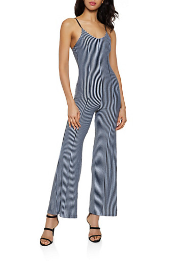 Vertical Stripe Flared Cami Jumpsuit,GRAY,large