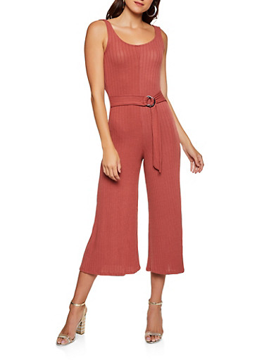 Rib Knit Belted Jumpsuit,WINE,large