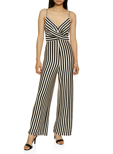 Striped Twist Front Palazzo Jumpsuit,BLACK/WHITE,large
