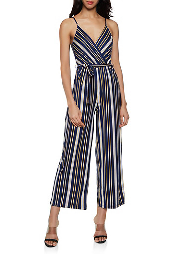Striped Faux Wrap Soft Knit Jumpsuit,NAVY,large