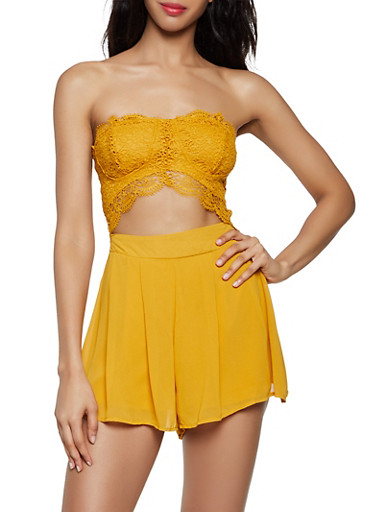 Cut Out Strapless Romper by Rainbow