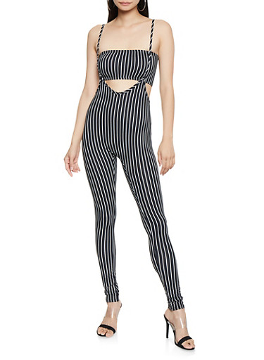 Striped 2 Piece Catsuit,BLACK/WHITE,large