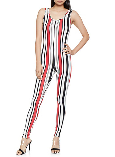 Vertical Striped Catsuit,RED,large