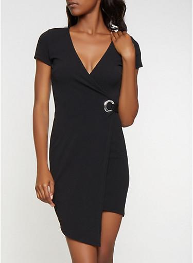 Grommet Detail Faux Wrap Dress,BLACK,large