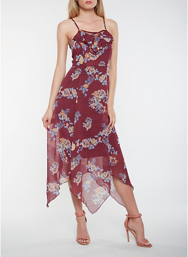 Caged Floral Maxi Dress,PURPLE,large