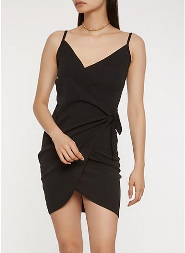Textured Knit Wrap Dress,BLACK,large