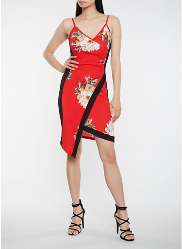 Floral Asymmetrical Faux Wrap Dress,RED,large