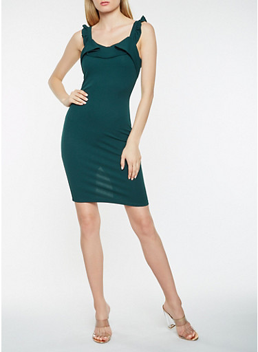 Ruffle Strap Bodycon Dress,HUNTER,large