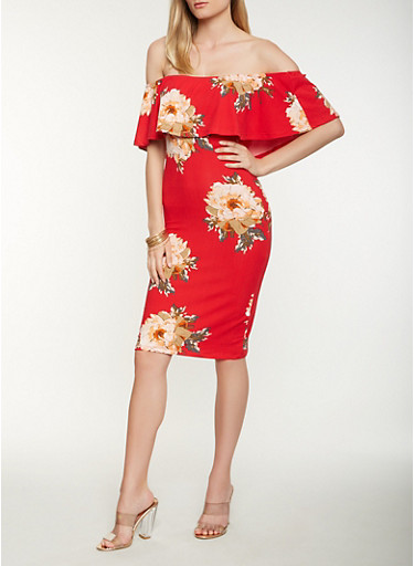 Floral Off the Shoulder Midi Dress,RED,large
