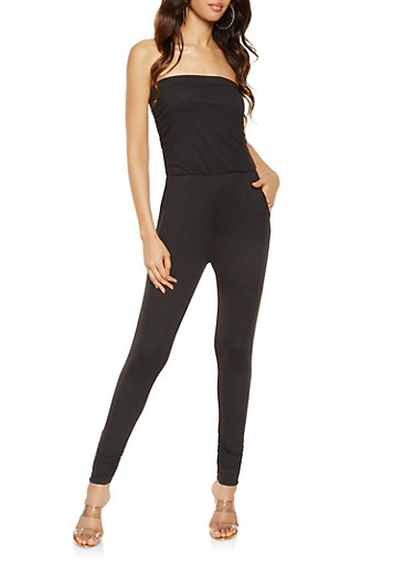 Solid Ruched Tube Jumpsuit,BLACK,large