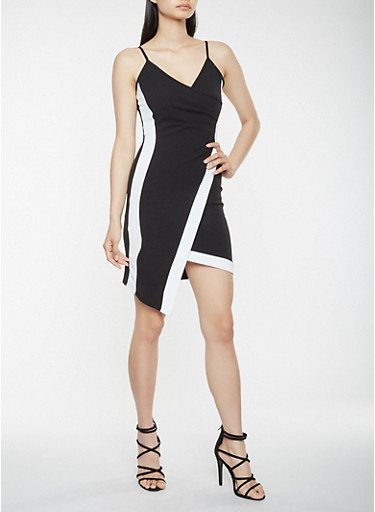 Color Block Asymmetrical Faux Wrap Dress,BLACK/WHITE,large