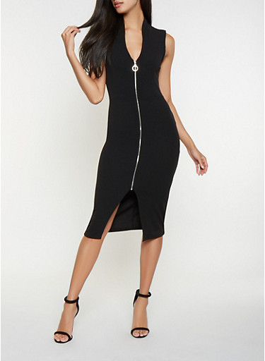 Zip Front Bodycon Dress,BLACK/TAUPE,large