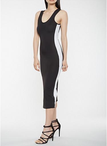 Contrast Side Tank Dress,BLACK/WHITE,large