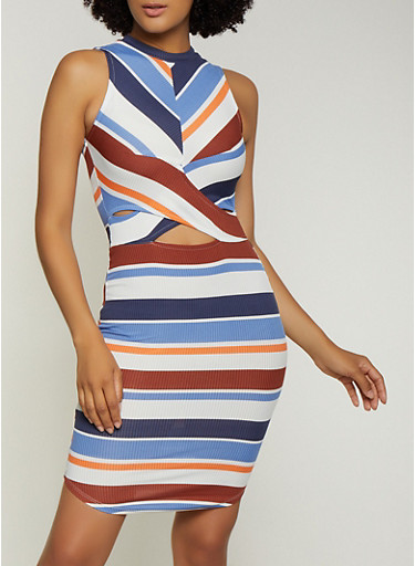 Striped Twist Front Keyhole Bodycon Dress,BLUE,large