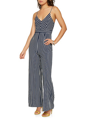Striped Palazzo Jumpsuit,NAVY,large
