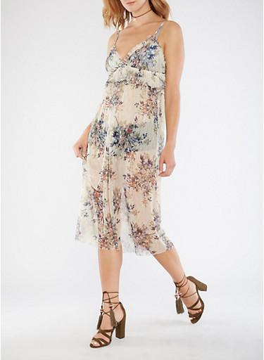 Floral Spaghetti Strap Mesh Dress,STONE,large