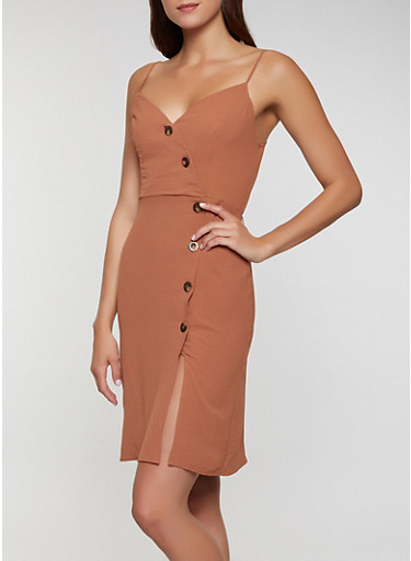 Button Front Bodycon Dress,CAMEL,large