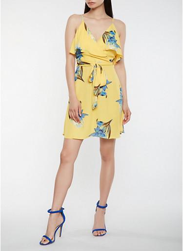 Floral Faux Wrap Dress,MUSTARD,large