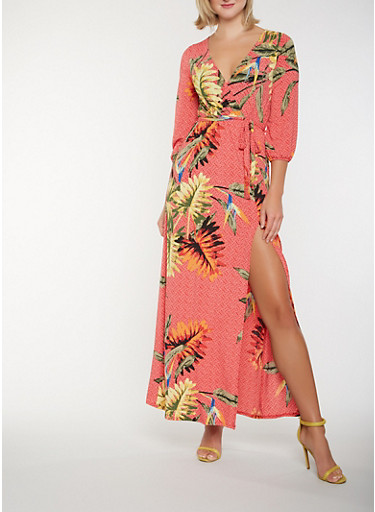 Printed Faux Wrap Maxi Dress,RED,large
