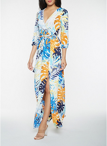 Printed Faux Wrap Maxi Dress,TURQUOISE,large