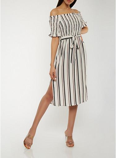 Striped Off the Shoulder Dress,IVORY,large