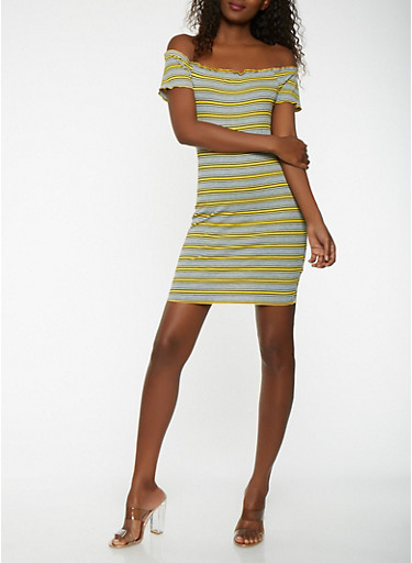 Striped Rib Knit Off the Shoulder Dress,YELLOW,large