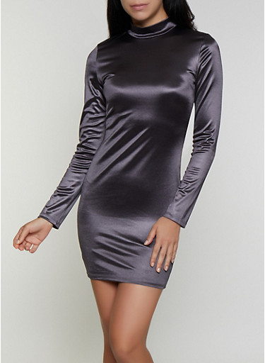 Mock Neck Spandex Dress,CHARCOAL,large