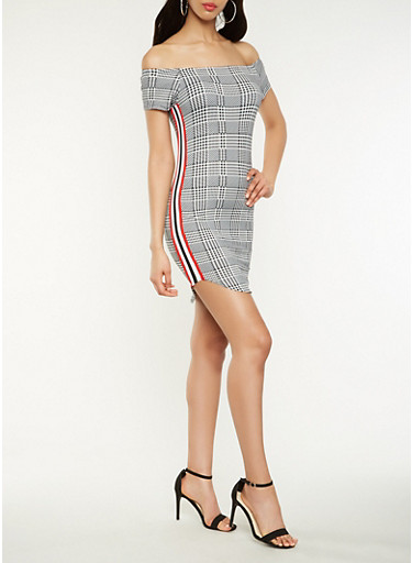 Off the Shoulder Houndstooth Plaid Dress | Tuggl