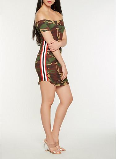 Off the Shoulder Camo Dress,OLIVE,large