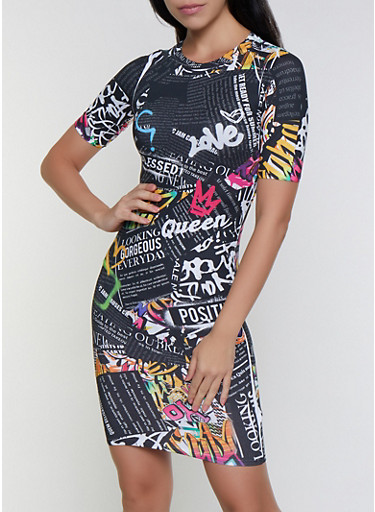 Text Print Bodycon Dress,BLACK,large