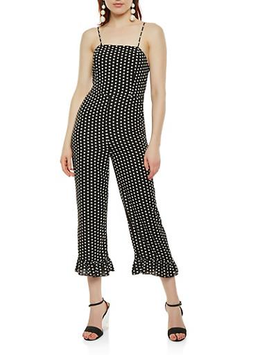 Polka Dot Tie Back Cropped Jumpsuit,BLACK/WHITE,large