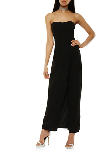 Solid Strapless Maxi Romper,BLACK,large