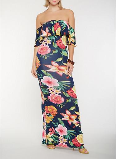 Floral Off the Shoulder Maxi Dress | Tuggl