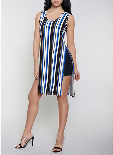 Striped Soft Knit Tank Dress | 3410062702624,RYL BLUE,large