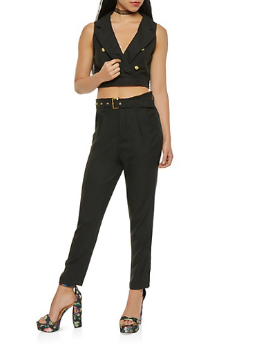 Button Detail Crop Top and Belted Pants Set,BLACK,large