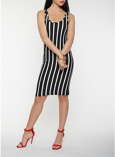 Striped Tank Midi Dress,BLACK/WHITE,large